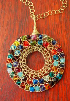 Rainbow Crochet Gold Filled Swarovski Pendant. Fantastico!
