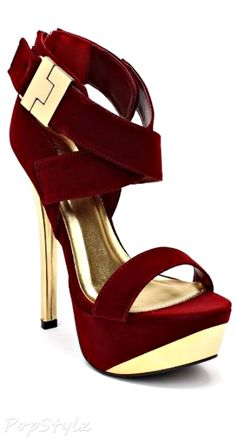 Qupid Velvet Criss Cross Open Toe High Heels