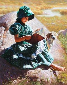 Alfredo Rodriguez (pioneer girl reading with dog) Art Occidental, Amor Animal, American Photo, American Story, Creation Photo, Girl Reading, Children Reading, Reading Art, Comic