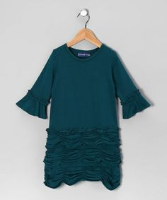 Take a look at this Teal Ruffle Dress - Toddler & Girls by Out of Control & 3 Little Stars on #zulily today!