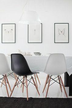 moderne schwarz-weiße Stühle-Esszimmer Design Idee