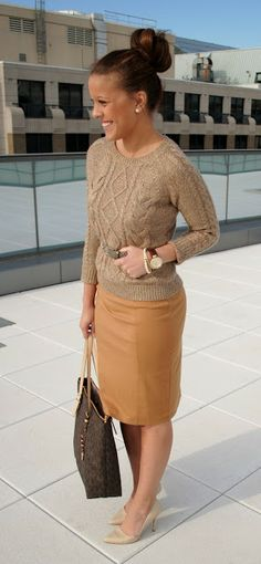 A tan cowl-neck sweater and a dark red pencil skirt will showcase ...