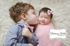 Big Brother With Newborn Baby Sister | Brittany Gidley Photography LLC