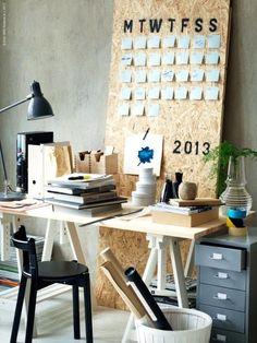 home office, workspace, white, chair, decoration Workspace Inspiration, Interior Inspiration, Ikea Inspiration, Office Workspace, Office Decor, Office Ideas, Desk Calendars, Diy Calendar, Calendar Board