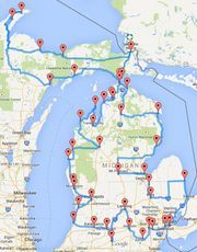 "This ""optimized"" Michigan road trip will take you hours to complete. According to Randy Olson, miles and 43 stops is the perfect road trip around Michigan. Olson – who's about to graduate from Michigan State University Lac Michigan, State Of Michigan, Northern Michigan, Port Austin Michigan, Higgins Lake Michigan, Michigan Facts, Fall In Michigan, Traverse City Michigan, Vacation Places"