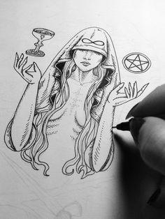 Picture Tattoos: A Modern Body Art Tattoo Sketches, Tattoo Drawings, Drawing Sketches, Art Drawings, Wicca Tattoo, Occult Tattoo, Symbole Tattoo, Modern Body Art, Witch Art