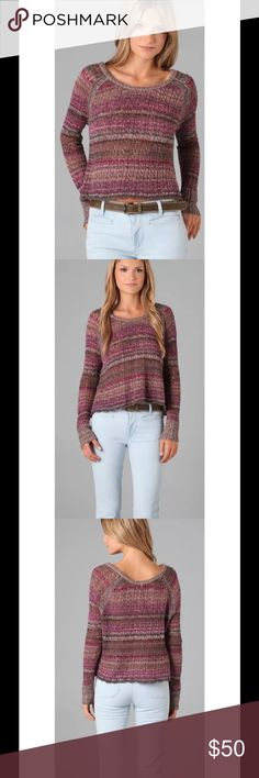 """Free People Lost in the Forest Pullover Sweater $98 Free People Lost in the Forest Boxy Pullover Sweater Faded Rose Sz S  With all that is constricting in the world today, your clothes don't have to be. Be yourself, be creative, be free..  Color - Faded Rose, 40% cotton 26% linen 11% rayon 10% acrylic 8% other fibers 4% wool 1% mohair, Hand wash cold  As seen on TV!!! AHS American Horror Story on Violet Harmon in season 1!  Bust: 42"""" Sleeve: 25"""" Length: 21"""" Free People Sweaters Crew & Scoop…"""