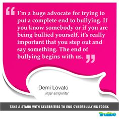 Take a stand with celebrities to end #Cyberbullying today! #DemiLovato