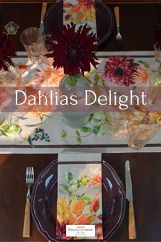 Dahlias Delight on this rich jewel-coloured table featuring Harvest Blooms linens and purple dinner plates. #tablesetting #tablescape #fall #dahlias #Venetian Glass #Williams Sonoma #IKEA