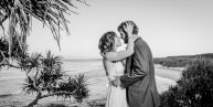 Cat and Luke have a kiss, looking over Main Beach from the headland...  Who doesn't love a beach wedding on North Stradbroke Island. Absolute paradise and the best place to get marriedNorth Stradbroke Island Wedding Photographer, Straddie Photography, Straddie Wedding Photograph www.stradbrokeislandphotography.com North Stradbroke Island Wedding Photographer, Straddie Photography, Straddie Wedding Photograph