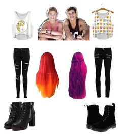 """""""double date with the jacks"""" by kristal-richter on Polyvore featuring Miss Selfridge, Paige Denim and Dr. Martens"""