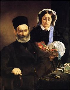 Portrait of Monsieur and Madame Auguste Manet - Edouard Manet. 1860. Realism. Oil on canvas. 1110 x 90cm. Musee d'Orsay. Paris.