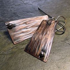 Geometric forged copper earrings  ...from Lavender Cottage on Etsy