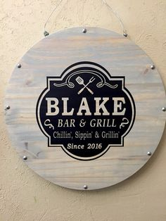 Grill Patio Deck Bar Sign Bar & Grill Wood Sign