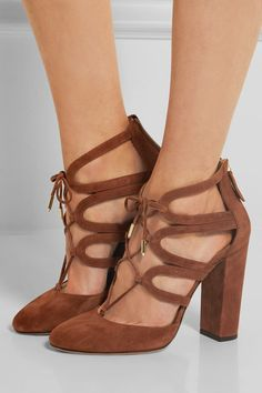 Heel measures approximately 105mm/ 4 inches Chocolate suede Ties at ankle, zip fastening along back Designer color: Luggage Made in Italy