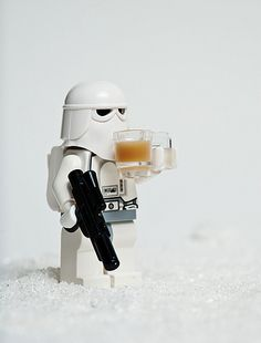 I think hes tired of dealing with darth vaders crap he needs a coffe to get through the day