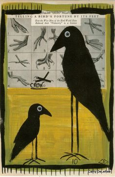 Crow Fortune  Original Art Postcard  Cathy DeLeRee by CathyDeLeRee, $1.50