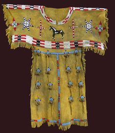 Native American Indian Tapestry - Textile - Cheyenne Little Girls Dress by Native Arts Trading
