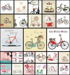 Collection of 25 free vector images of bikes and bicycles in hand drawn and graphic styles. #vector #diy #bike