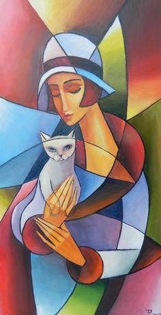 Cubist Paintings, Cubist Art, Modern Art Paintings, Abstract Face Art, Abstract Animals, Pop Art Wallpaper, Cat Art, Art Pictures, Art Drawings