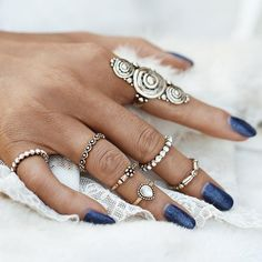 Stylish 7 Pcs/Set Crystal Knuckle Vintage Rings - Accessories by Zeelous Street Style