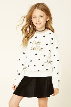 Forever 21 Girls - A heathered knit sweater featuring an allover heart print…