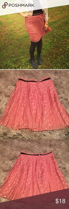 """Rose pleated skirt Pleated skirt. Textured with polka dots. Rose and black, zipper closure. Slip lined. No stretch. Length: 23"""". Waist: 16"""". Down east basics Skirts A-Line or Full"""
