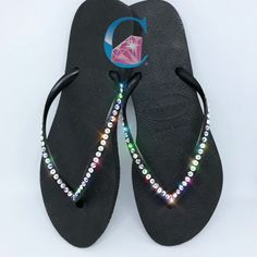 f3603cd90a2 Black Thin Strap SWAROVSKI® Crystal AB embellished Havaianas - 1 Row    Girls Dream