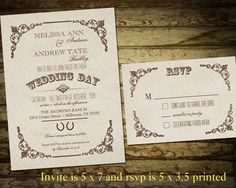 Rustic Country Wedding Invitations and RSVP Cards - vintage chic, modern and rustic theme- DIY printable file