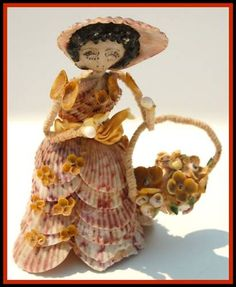 Antique Victorian Shoe seashell art Pipe cleaner Girl