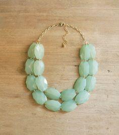 Aqua Mint Double Strand Statement Necklace - Chunky Mint Necklace on Etsy, $42.00