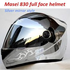 Casco Capacetes Masei 830 Full Face Motorcycle Helmet silver mirror