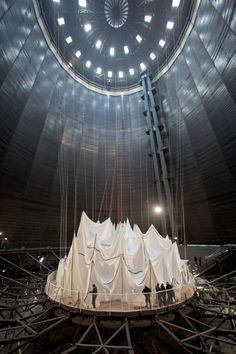 Construction of Christo's Big Air Package at Gasometer Oberhausen, Germany February 2013. Photo: Wolfgang Volz © 2013 Christo.