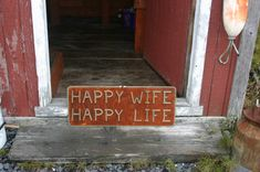 Happy Wife Happy Life Wooden Sign Rustic Decor by AlaskaRugCompany,