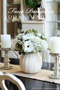 An incredible collection of inspiring fall decor schemes using festive white pumpkins with tips on how to achieve the same look in your home. White Pumpkin Centerpieces, Pumpkin Floral Arrangements, Fall Candle Centerpieces, Pumpkin Table Decorations, White Pumpkin Decor, Flower Arrangements, Autumn Decorations, White Decor, Thanksgiving Decorations