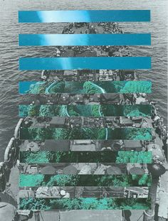 Through the slots we see the trees, and the sea, and underneath, an oil tanker hauling the crude oil out of the forest. Collage by artist Mowgli Omari