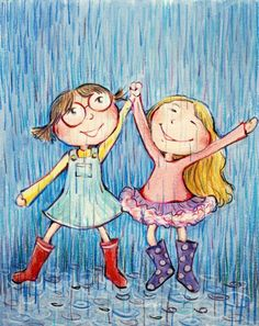 Girl dancing in the rain children Ideas Illustrations, Illustration Art, I Love Rain, Going To Rain, Singing In The Rain, Arte Disney, Girl Dancing, Children Dancing, Rainy Days