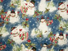 Snowman Christmas Fabric By The Yard Quilting Sewing Susan Winget Winter Skies Collection by NeedlesnPinsStichery on Etsy