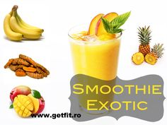 Smoothie exotic, cu ananas si turmeric   GetFIT Turmeric, Real Food Recipes, Cantaloupe, Pineapple, Exotic, Health Fitness, Wellness, Pinecone, Health And Wellness