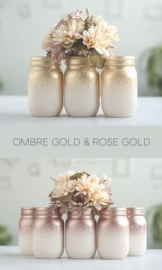 Glitter & Painted Mason Jar Centerpieces & Home Decor by SprinkledandPainted Ombre painted mason jars. Ivory with rose gold or gold and a dash of glitter. Glitter Paint Mason Jars, Painted Mason Jars, Gold Mason Jars, Mason Jar Centerpieces, Wedding Centerpieces, Wedding Decorations, Shower Centerpieces, Rose Gold Centerpiece, Glitter Centerpieces
