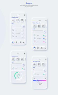 Smart Home. Neumorphism app concept on Behance Interaktives Design, Web Ui Design, Dashboard Design, Web Responsive, Web Design Mobile, Website Design Layout, App Design Inspiration, User Interface Design, Branding