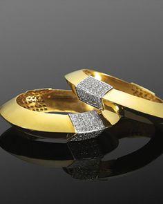 @Betsy Bernardi Frederick Turner Leighton Pair of Yellow Gold and Diamond Sculptural Bangle Bracelets, circa 1970s