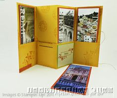 Hybrid accordion album using both My Digital Studio software and traditional stamping supplies of my time in Italy.