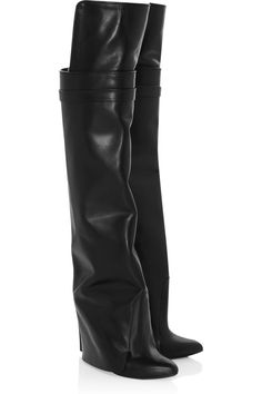 Givenchy|Leather knee wedge boots