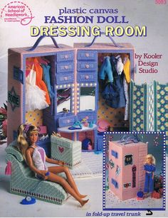 Fashion Doll Dressing Room Plastic Canvas Miniature Doll House Furniture Craft Leaflet Pattern 3093. $8.00, via Etsy.
