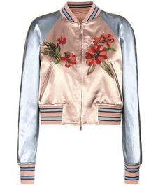 Valentino - Veste bomber en satin à ornements multicolores