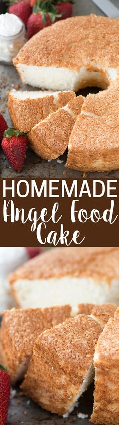 100% homemade angel food cake! This is the recipe that everyone will ask you for! This recipe shows you how to use all purpose flour instead of cake flour, and you can easily make it gluten free!