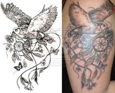 Owl And Dreamcatcher Tattoo Commission by NightsQueen.deviantart.com on @deviantART