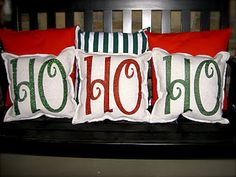 DIY Christmas pillows! @Carrie Haskovec @Courtney Can we please do this? It looks VERY easy!!!