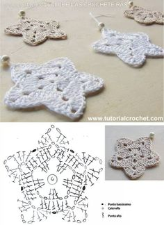 Christmans na Stylowi.pl These look pretty and easy to crochet. Christmans na Stylowi.pl These look pretty and easy to Crochet Diy, Crochet Home, Crochet Gifts, Irish Crochet, Crochet Motif, Crochet Doilies, Crochet Flowers, Crochet Appliques, Crochet Snowflake Pattern